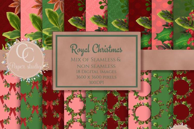 Christmas digital papers - Royal Christmas wreath example image 1