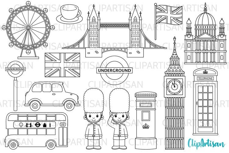 London Clipart, British Digital Stamps, England, Big Ben example image 1