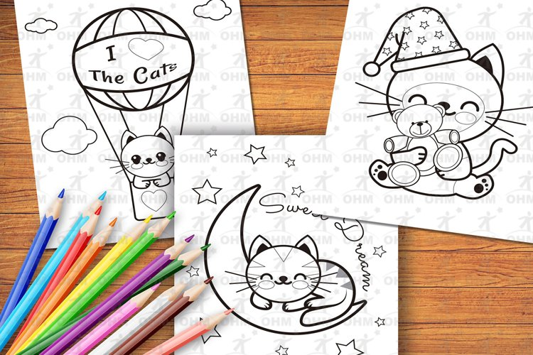 Printable Kitties Coloring Pages for Kids, Vol. 3 example image 1