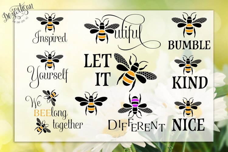 Bee Bumble | Beeutiful | Be Different | Bee Bundle SVG | DXF example image 1