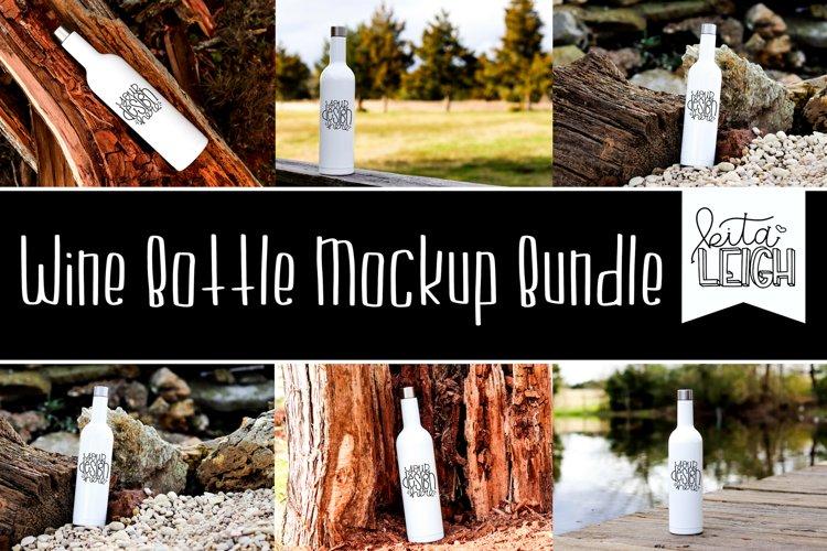 White Wine Bottle Mockup Bundle example image 1