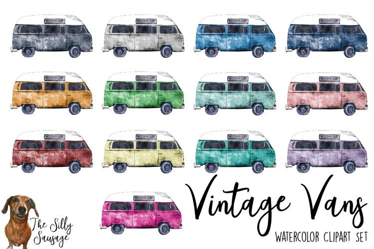 Download Vintage Vans Watercolor Clipart 297255 Illustrations Design Bundles