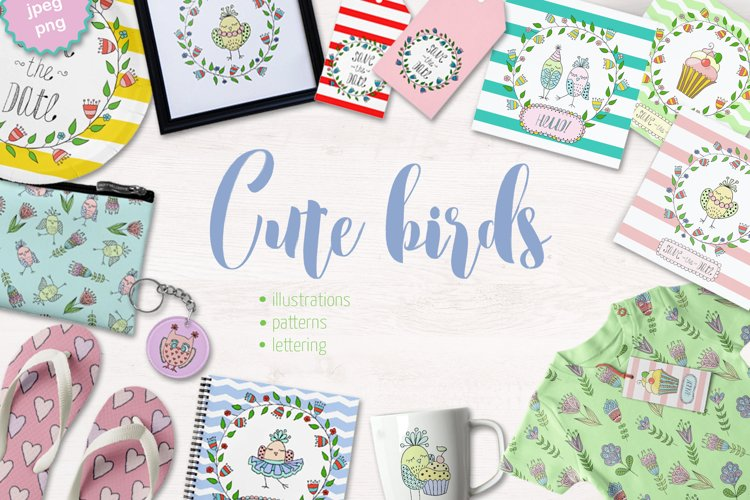 Cute birds, flowers, frames and lettering example image 1