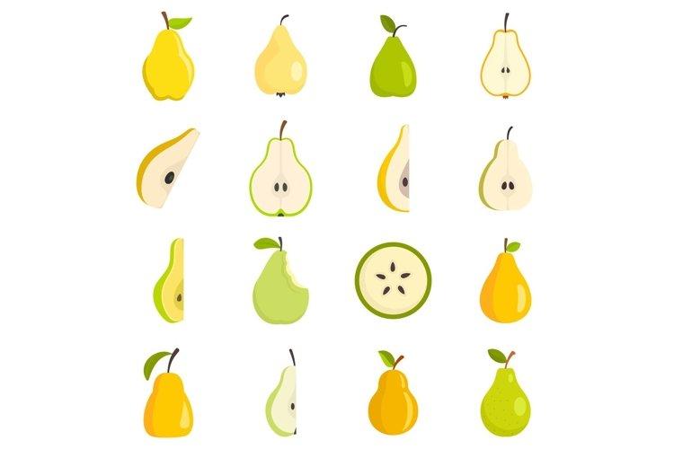 Pear icons set, flat style example image 1