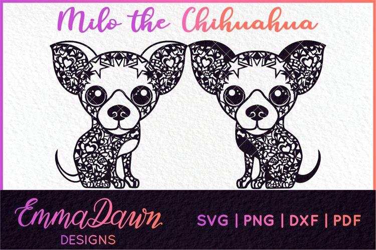 MILO THE CHIHUAHUA SVG MANDALA / ZENTANGLE 2 DESIGNS example image 1