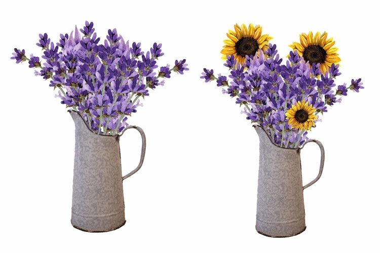 Vintage Pitcher, Sunflowers, Lavender, Bundle, Clip Art example image 1