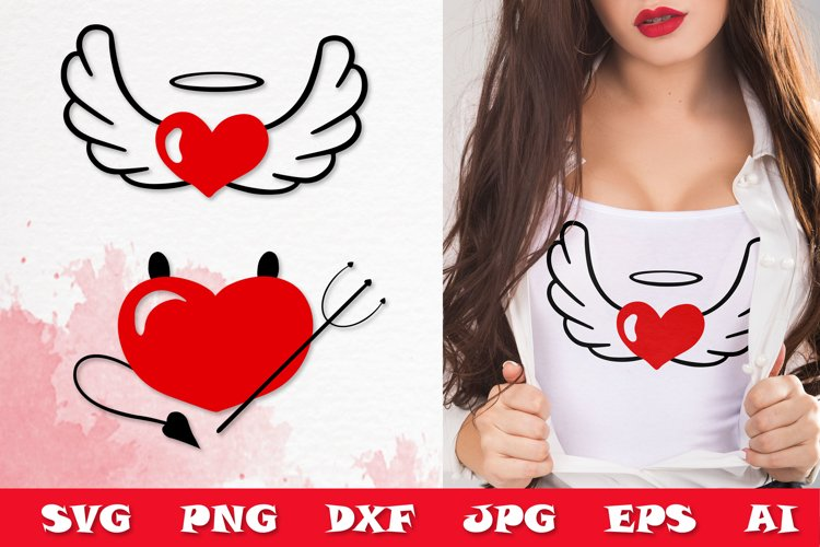 Valentine's SVG Cut files - Valentines day SVG angel heart example image 1