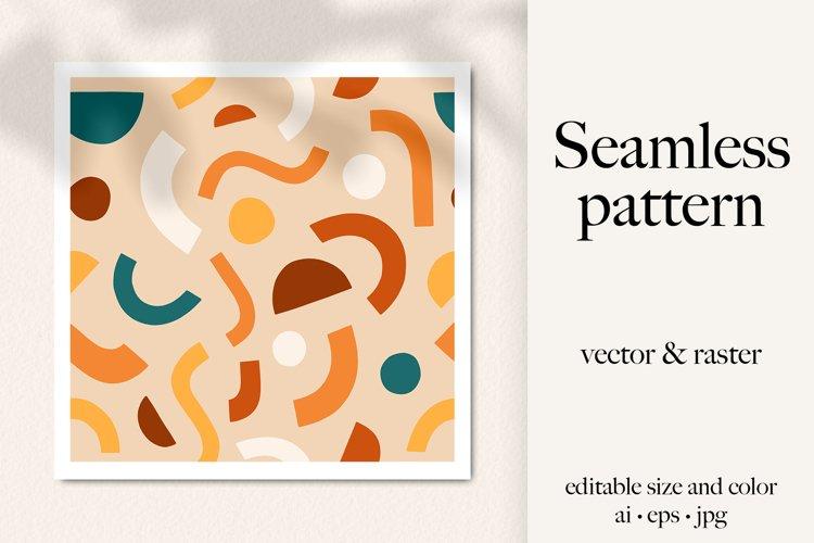 Boho abstract shapes seamless vector pattern