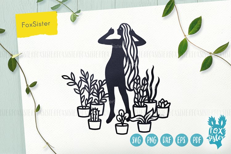 House Plants svg, Girl Vector Cut File, plants svg files example image 1