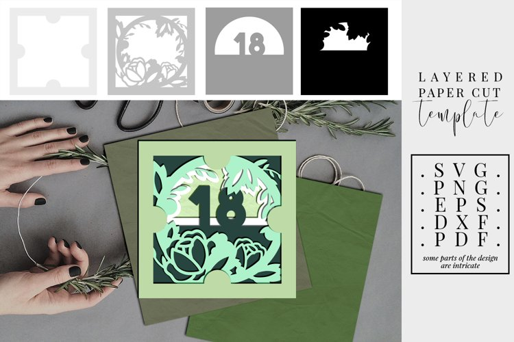 Layered papercut 18th birthday floral, 3D SVG, bday wreath