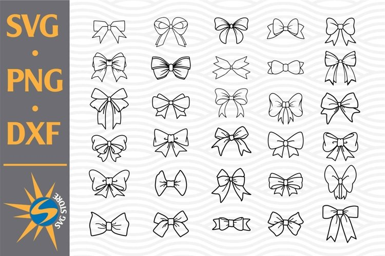 Bow Outline SVG, PNG, DXF Digital Files Include