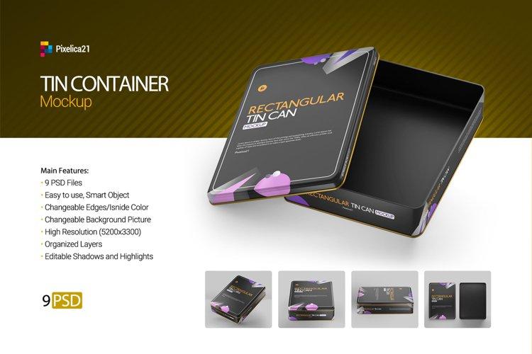 Rectanguler Tin Container Mockup