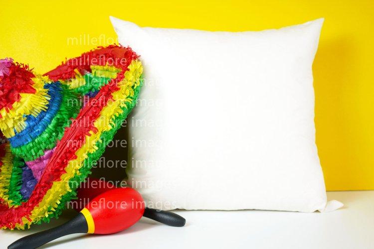 Cinco De Mayo Throw Pillow Cushion Mockup Styled Stock Photo