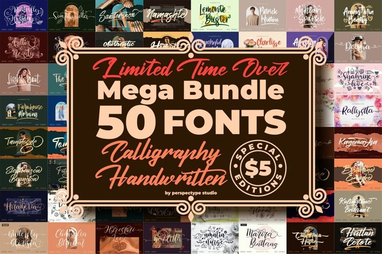 Best Seller - Awesome Mega Bundle 50 Fonts from Perspectype