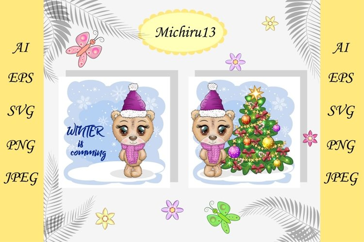 2 Christmas cards with cute bear, Merry Christmas, New Year example image 1