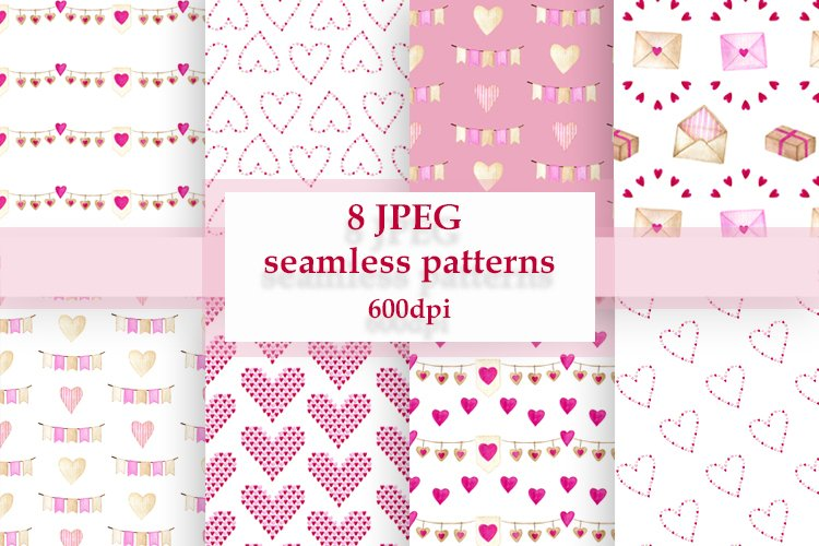 Valentines seamless digital patterns. Watercolor backgrounds