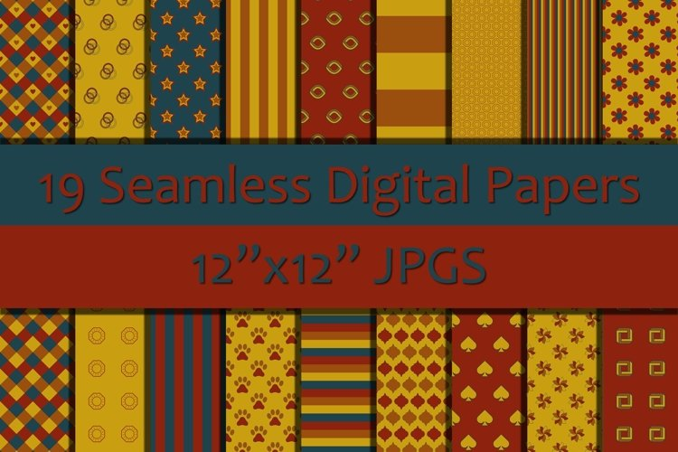 Shades of Red/Blue/Yellow Seamless Digital Papers/Background example image 1
