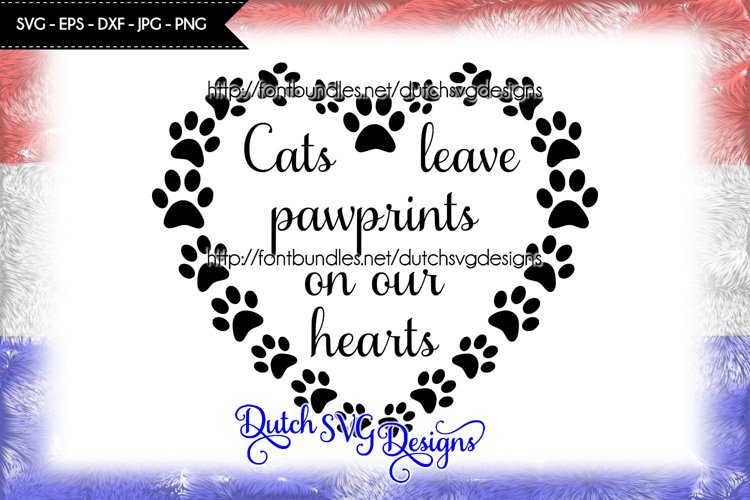 Cutting file Cats in paw heart example image 1
