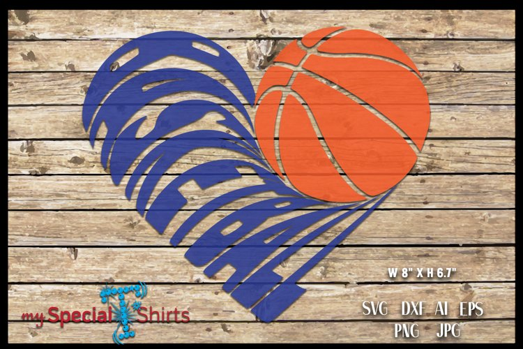 Basketball Heart Cut Out SVG, DFX, EPS, JPG, PNG