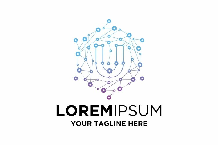 Initial U Letter Blockchain Technology