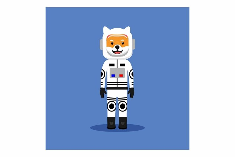 Shiba Inu as Astronaut Doggy in flat design example image 1