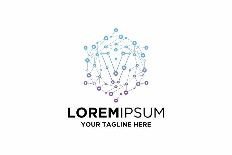 Initial V Letter Blockchain Technology