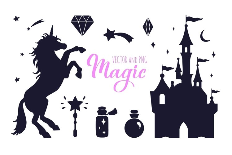 Fairy tale magic silhouettes with poster concept example image 1