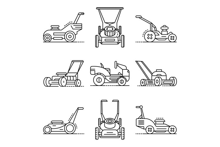 Lawnmower icon set, outline style example image 1