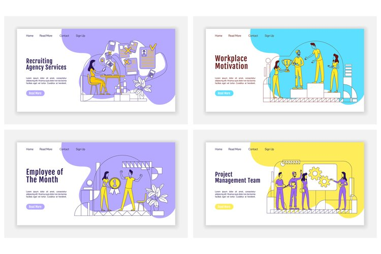 HR management landing page flat silhouette vector templates example image 1