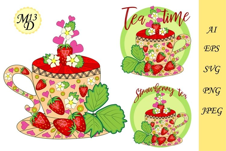 Strawberry tea. Tea cooked with love. A cup with berries example image 1