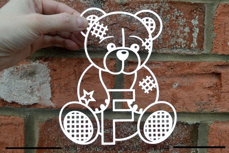 Teddy bear letter F paper cut SVG / DXF / EPS files example image 1