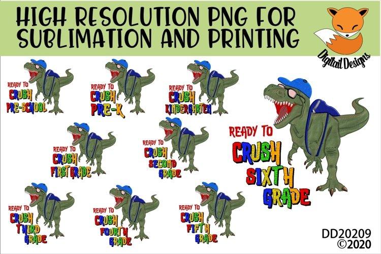 TRex Dinosaur Ready To Crush Grade School Sublimation Bundle example image 1