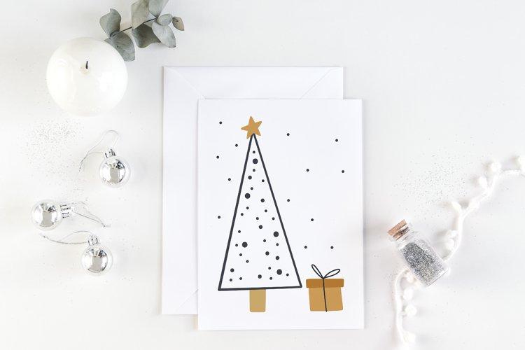 Printable christmas card with pine tree and gift
