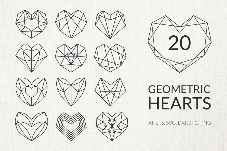 Geometric love hearts silhouette shape vector, svg, png