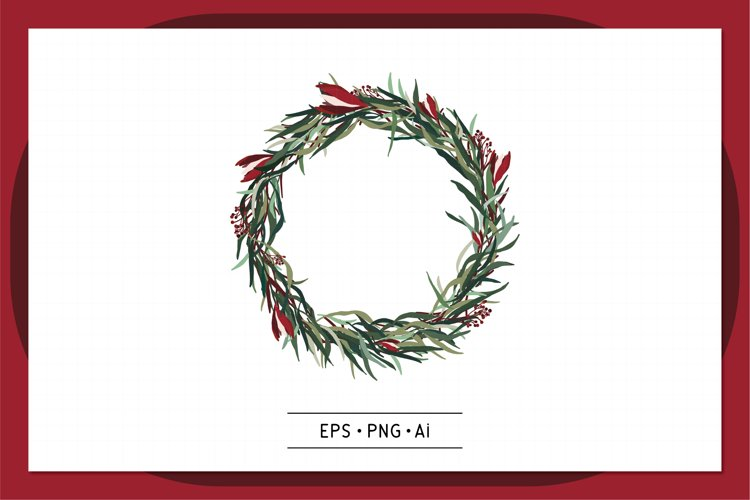 Christmas Wreath Hand drawn vector - 0008 example image 1