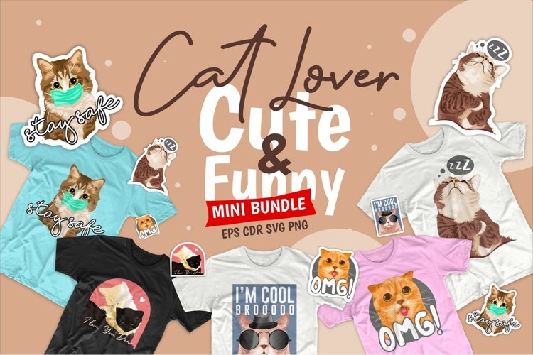 Cute Cat SVG Bundle Cartoon PNG example image 1