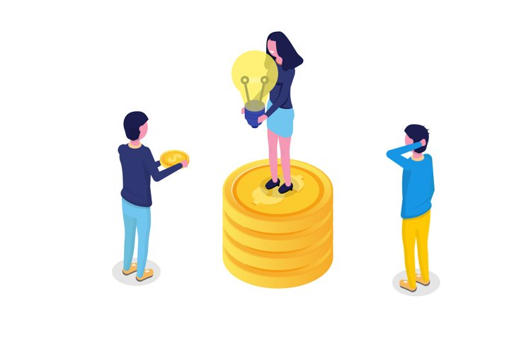 Crowdfunding isometric concept with people. example image 1