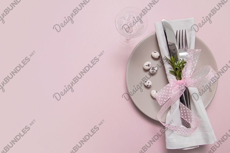 Eggs and cutlery on a plate for Easter Day example image 1