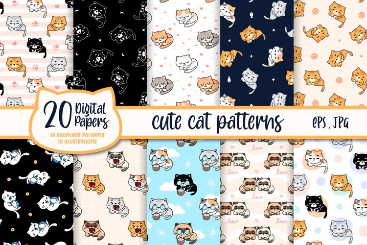 Cute Cats Seamless Patterns Collections