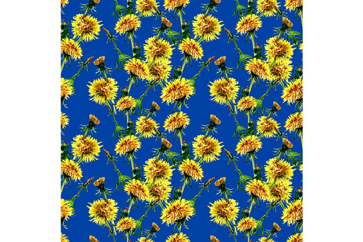Seamless flowers pattern with dandelion leaves and flowers. example image 1