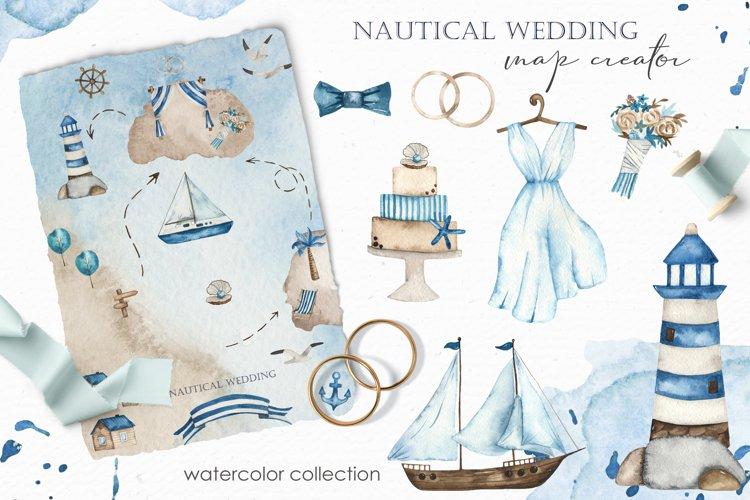Nautical wedding map creator Watercolor clipart example image 1