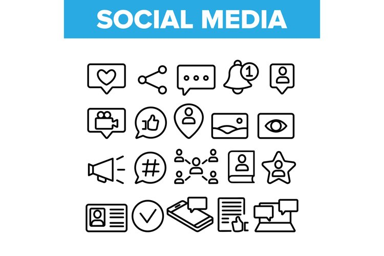 Collection Social Media Elements Icons Set Vector example image 1