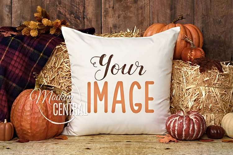 Rustic Fall Halloween Decor Square Mockup Pillow, JPG example image 1