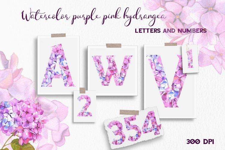 Purple pink hydrangea floral Alphabet example image 1