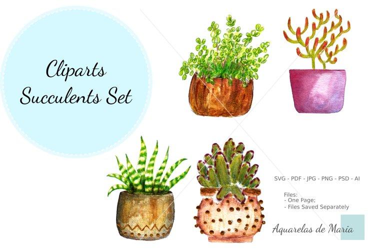 Cactus Clipart Watercolor Set