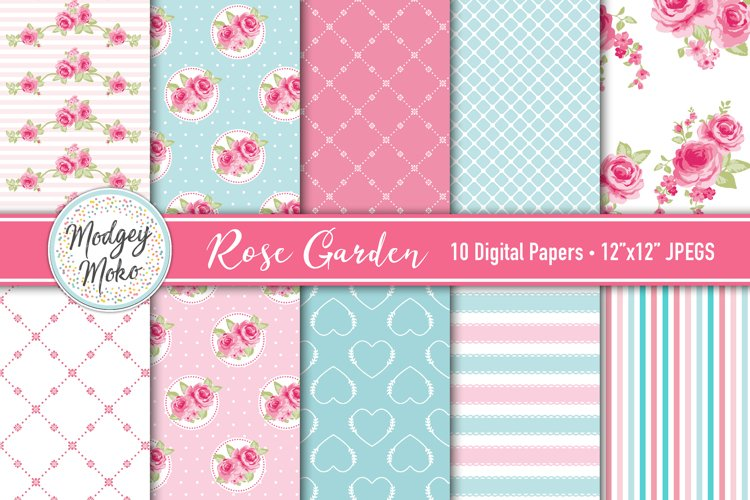 Rose Garden Digital Printable Papers