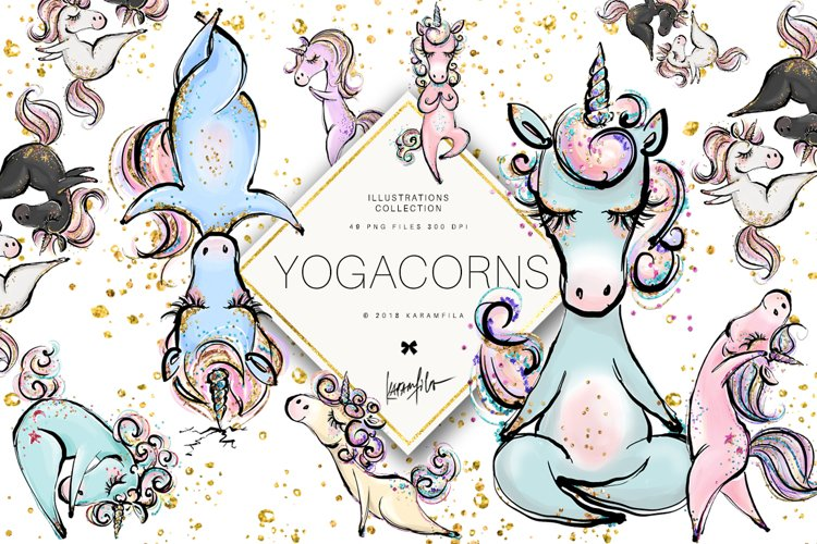 Yoga Unicorns Clipart