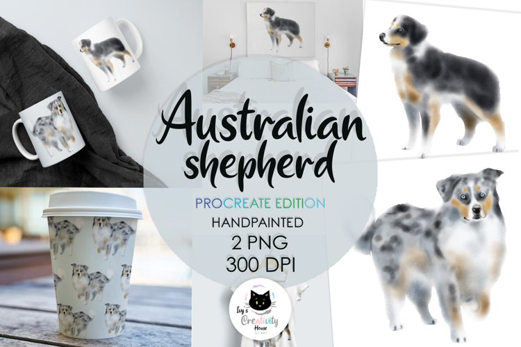 Australian Shepherd Dog Watercolor | Sublimation PNG Set example image 1