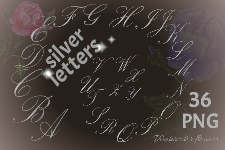 Alphabet of silver letters with watercolor flowers example image 1