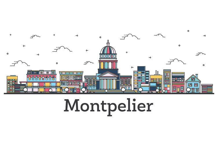 Outline Montpelier Vermont City Skyline with Color Buildings example image 1